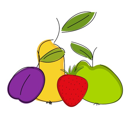 Fruits. Still life composition Vector