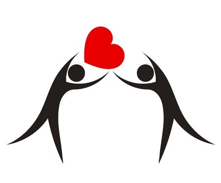 Pareja con el corazón. El amor concepto