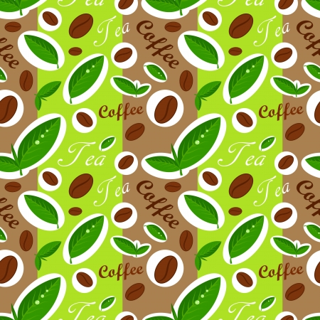 green coffee beans: Coffee and tea seamless pattern