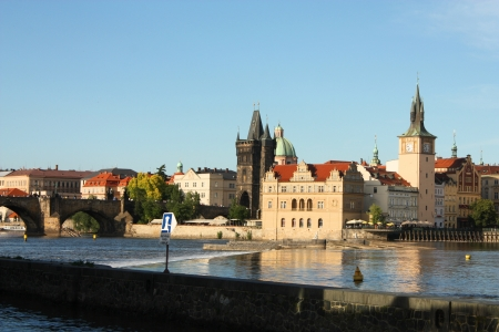 Prague - Charles bridge on Vltava river photo