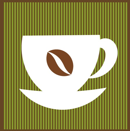 Coffee cup over striped green background. Vector illustration Vector