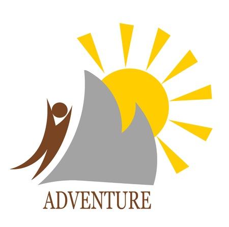 agencia de viajes: Icono de montaña abstracta. Ilustración vectorial