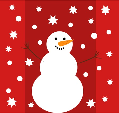 Happy snowman - Christmas card illustration Vector