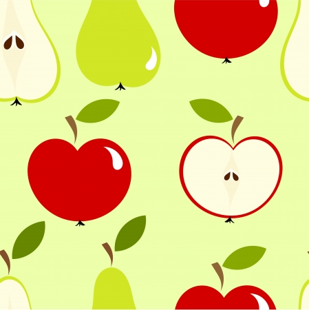 Seamless pattern with apples and pears. Vector Vector