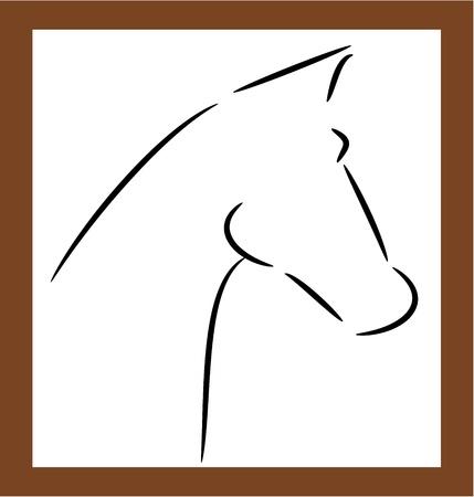 cabeza de caballo: Cabeza de caballo contorno de la forma - ilustraci�n vectorial
