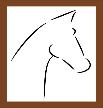 painting and stylized: Horse head shape outline - vector illustration