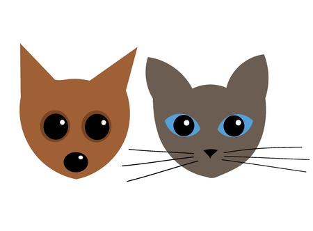 Cute puppy and kitten. Vector illustration Vector