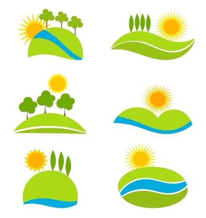 Landscape icons for design. Vector illustration Illustration