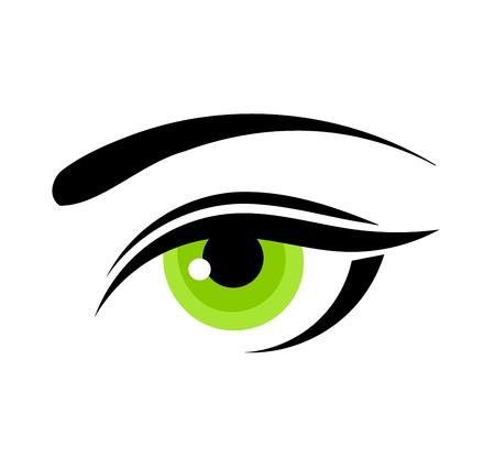 eyebrow makeup: Bella donna occhio verde. Illustrazione vettoriale