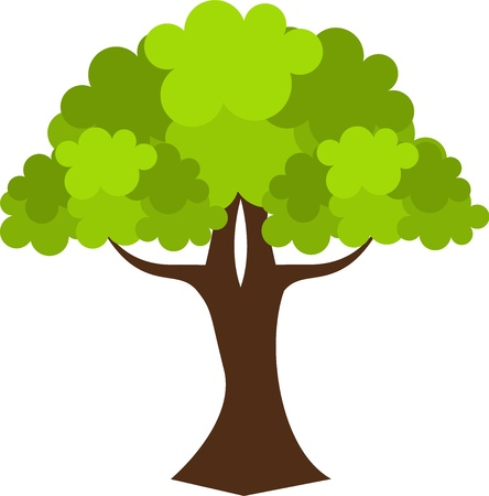 Old oak tree. Vector illustration Illustration