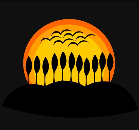 cypress tree: Sunset behind hill with trees. Vector illustration