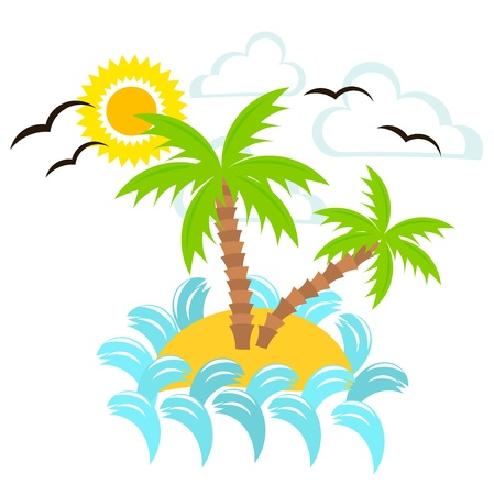 Summer island. Vector illustration Vector