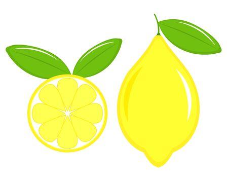 fruit clipart: Lemon fruit, slice and leaves. Vector illustration Illustration