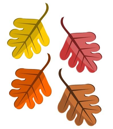 Cartoon style autumn leaves. Vector illustration