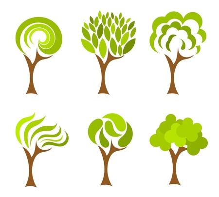 Árboles colección. Ilustración vectorial