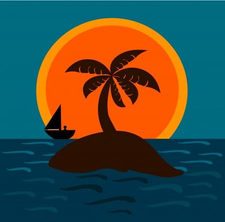 Desert island in the sunset light. Man in the boat on the horizon Vector
