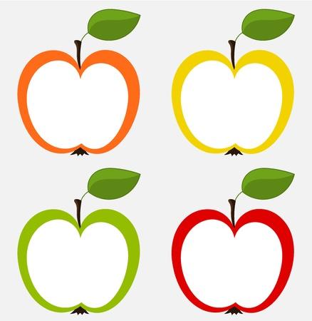 pommes: Diff�rentes ic�nes pommes - set pour la conception. vecteur