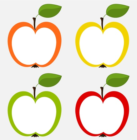 apple isolated: Various apples icons - set for design. vector