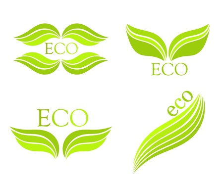Eco leaf set of symbols Stock Vector - 15027411