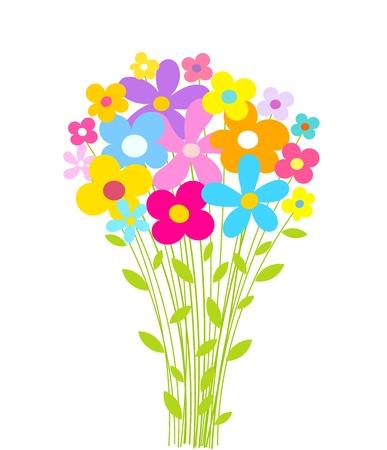 mazzo di fiori: Fiori bouquet. Illustrazione vettoriale