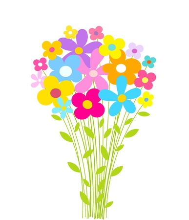 cartoon bouquet: Flowers bouquet. Vector illustration Illustration