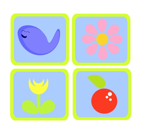 Colorful nature icons - fish, flowers and apple Vector
