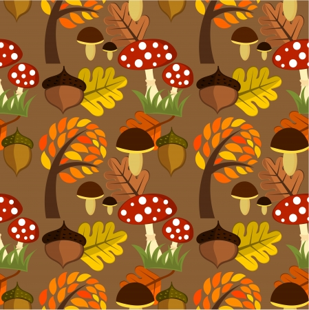 edible mushroom: Autumnal forest life seamless pattern Illustration