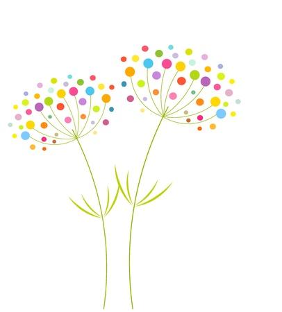 fennel: Abstractas coloridas flores - ilustraci�n vectorial