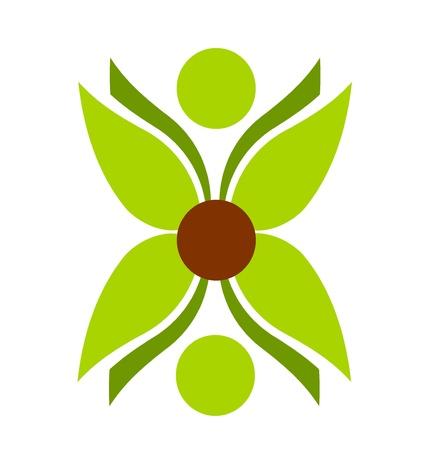 Green plant flower symbol vector illustration Illustration