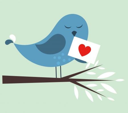 envelope with letter: Uccello blu con la lettera d'amore. Illustrazione vettoriale