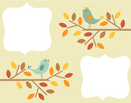 Autumnal birds singing - vintage frame background Vector