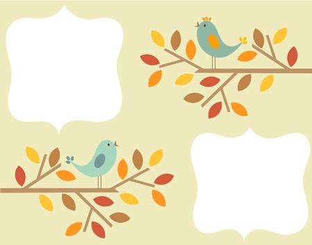 Autumnal birds singing - vintage frame background
