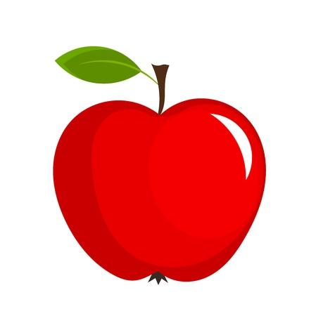 Mela rossa con foglia - illustrazione vettoriale Vettoriali
