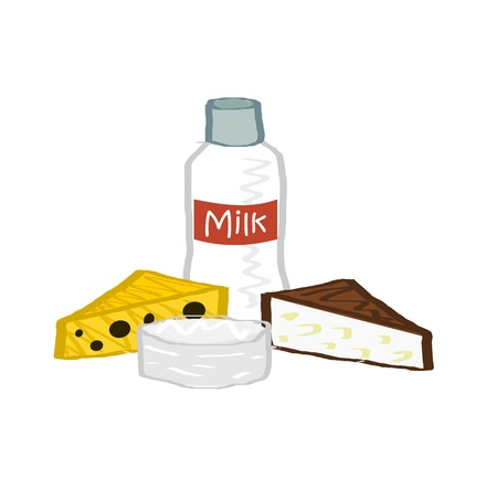goat cheese: Illustration of dairy products: three types of cheese camembert, yellow and goat with bottle of milk