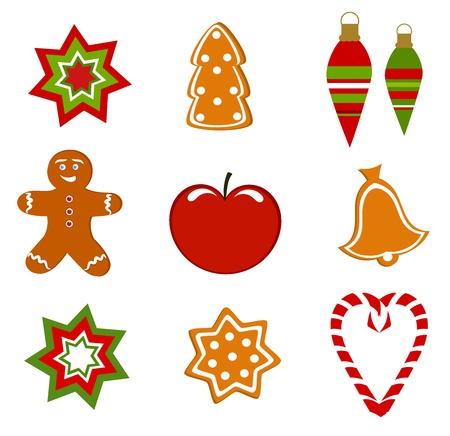 christmas cookie: Christmas symbols collection. Vector illustration Illustration