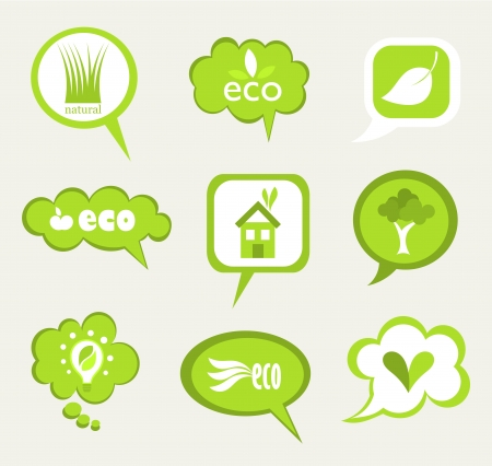 Collection of eco natural cloud labels illustration Stock Vector - 15098429