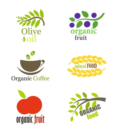 tree logo: Set of organic and natural food labels illustration
