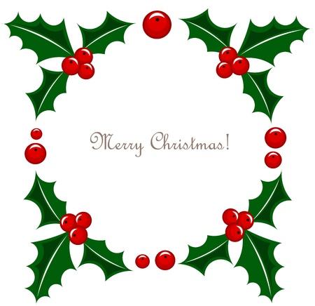 christmas berries: Agrifoglio bacca cornice illustrazione