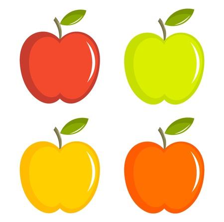 사과: 다채로운 사과 그림의 집합 일러스트