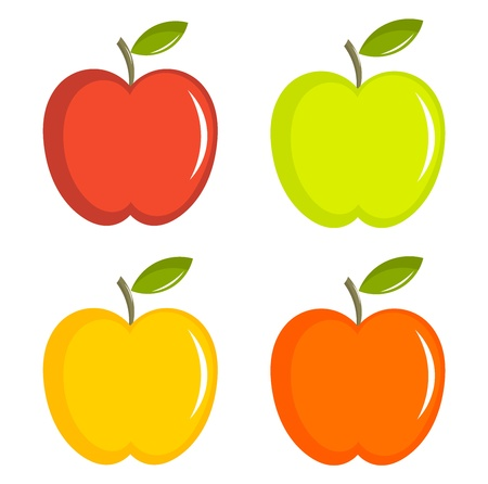 green apple: Conjunto de manzanas ilustraci�n colorida