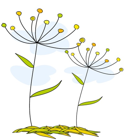 Flowers growing in nature illustration