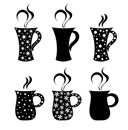 Set of mugs with pattern illustration Vector