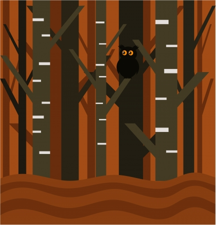 Owl in abstract forest illustration Stock Vector - 15098422