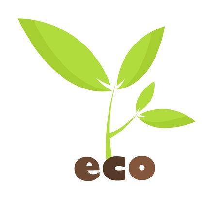 Eco concept - green young plant illustration Vector