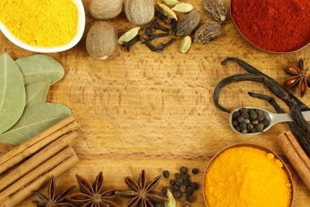 Colorful variety of spices in frame composition photo