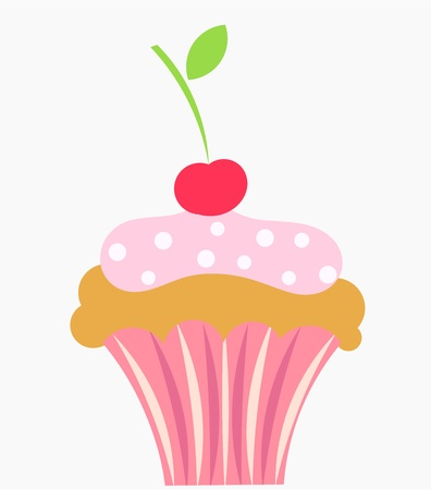 fairycake: Cupcake with cream and cherry Illustration