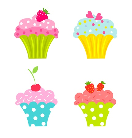 Set of cupcakes with cream and fruits Vector
