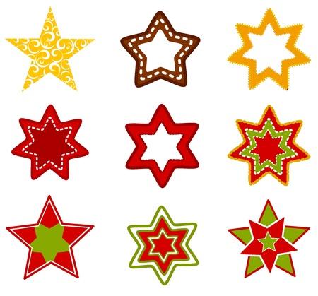 estrella caricatura: Colección de varias estrellas de la Navidad Vectores