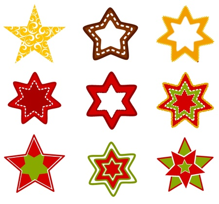 star cartoon: Collection of various Christmas stars Illustration