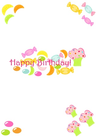 Cute birthday card for child with many colorful sweet candies Stock Vector - 15795606